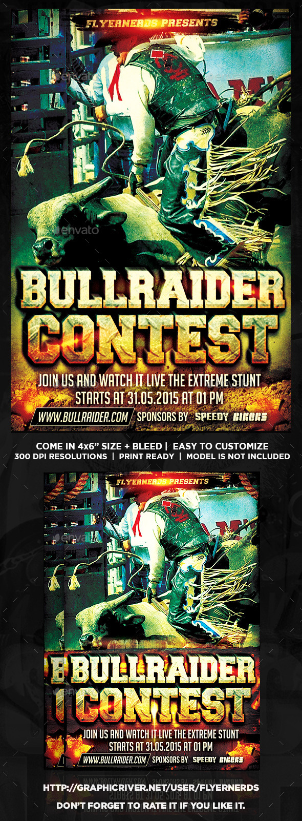 Bull Rider Cowboy Competition Sports Flyer - Sports Events