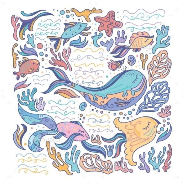 Colorful Sea Illustration - Seasons Nature