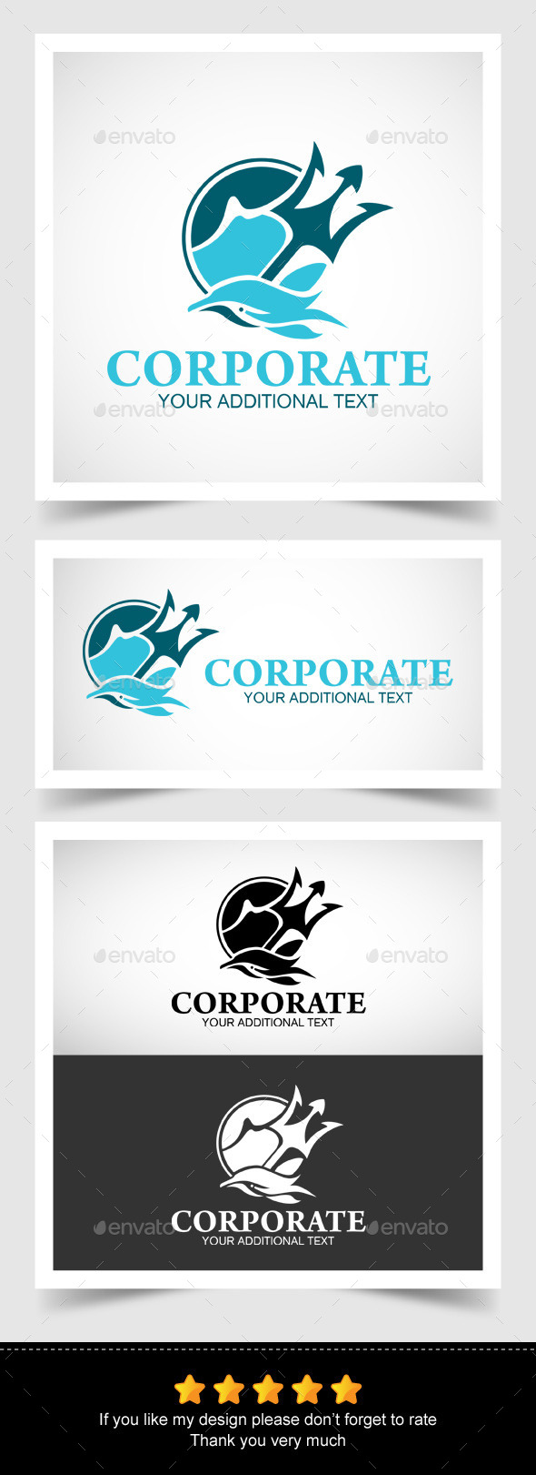 Dolphin and Trident in a Logo - Objects Logo Templates