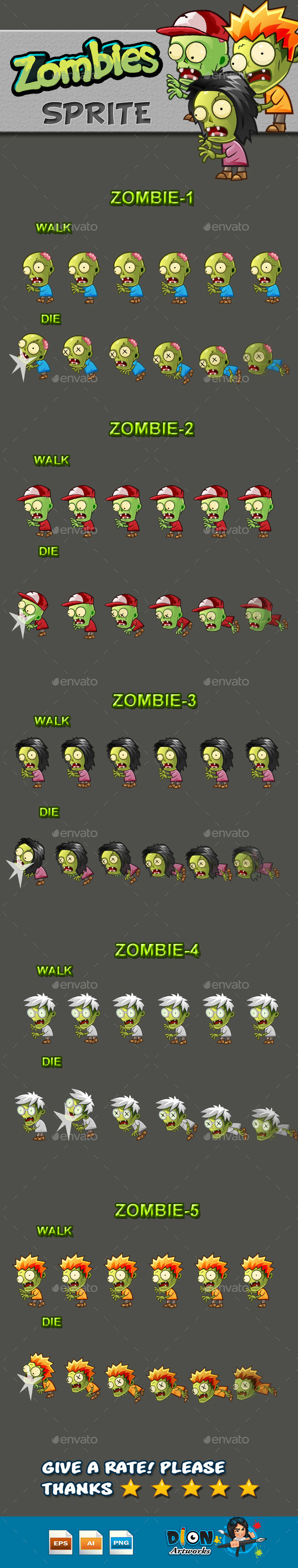 Zombies Sprite Sheets - Sprites Game Assets
