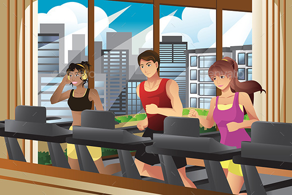 People Running on Treadmills - Sports/Activity Conceptual