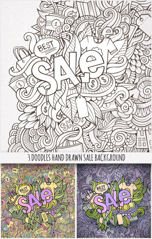 3 Sale Doodles Background - Commercial / Shopping Conceptual