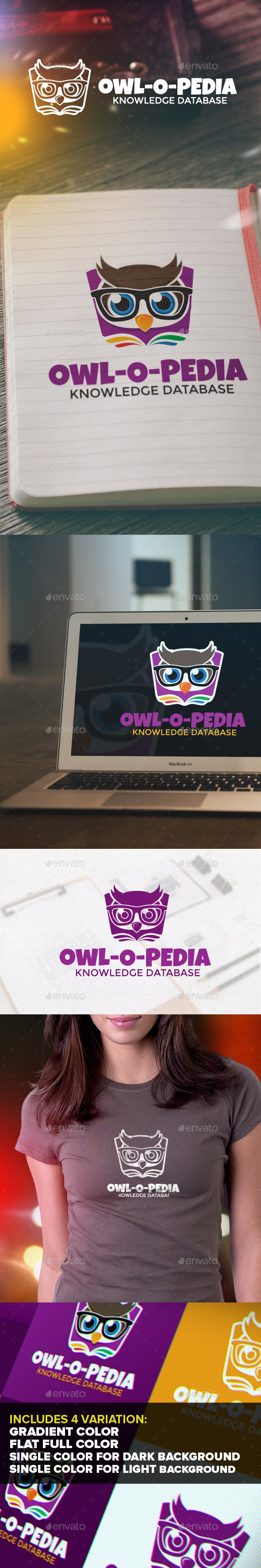 Owl-o-pedia Logo - Animals Logo Templates