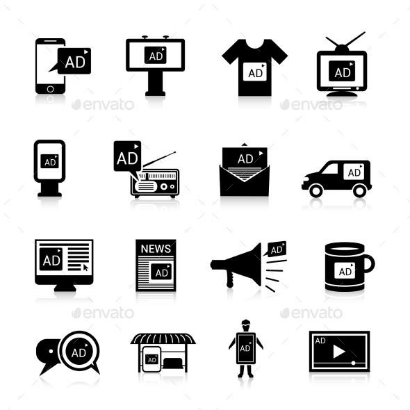 Advertising Icons Black - Media Technology