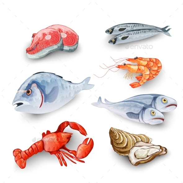 Seafood Products Set - Food Objects