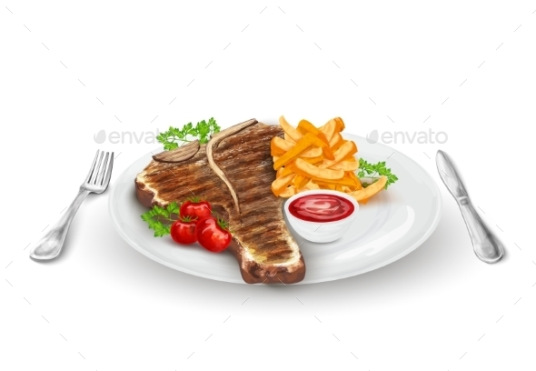 Grilled Steak on Plate - Food Objects