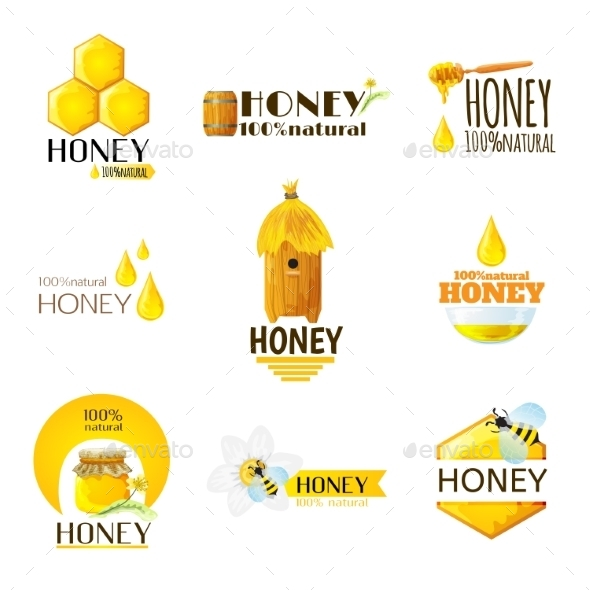 Honey Labels Set - Food Objects