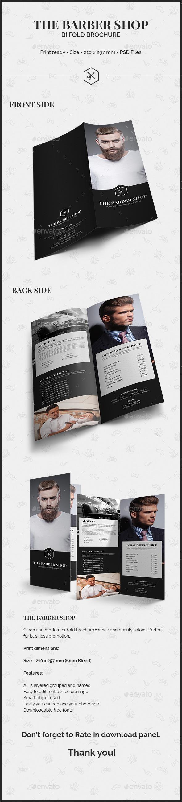 The Barber Shop Bi Fold Brochure - Brochures Print Templates