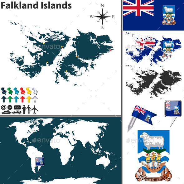 Map of Falkland Islands - Travel Conceptual