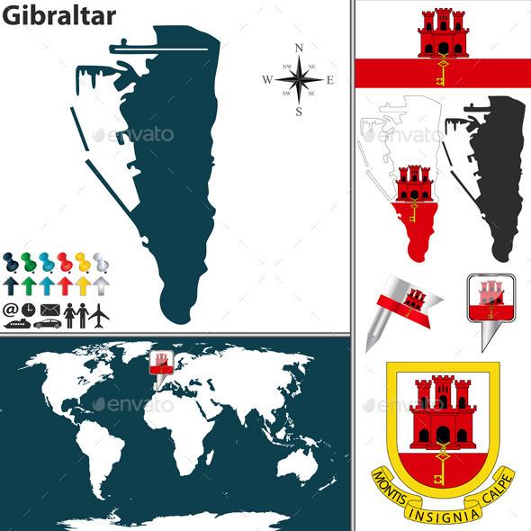 Map of Gibraltar - Travel Conceptual