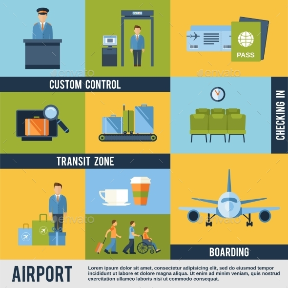 Airport Icons Set - Travel Conceptual