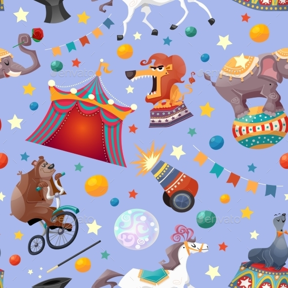 Circus Seamless Pattern - Backgrounds Decorative