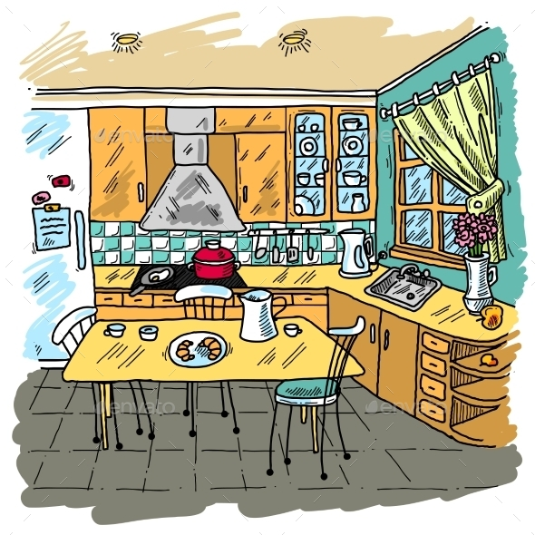 Kitchen Colored Sketch - Backgrounds Decorative