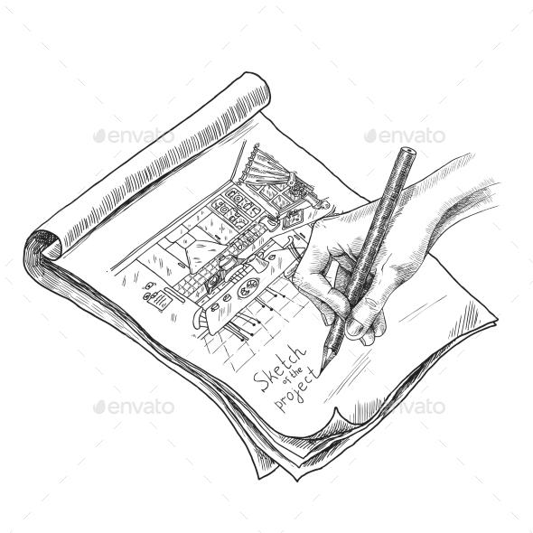 Kitchen Sketch Illustration - Miscellaneous Vectors