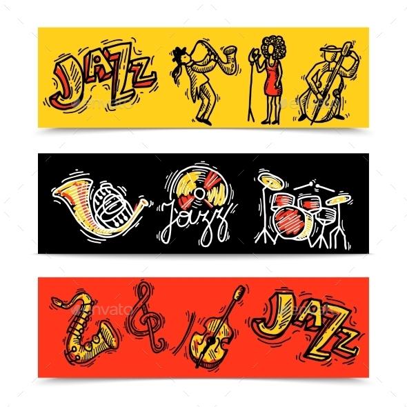 Jazz Banners Set - Miscellaneous Vectors