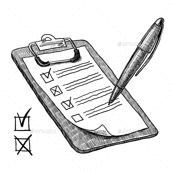 Clipboard with Check List - Man-made Objects Objects