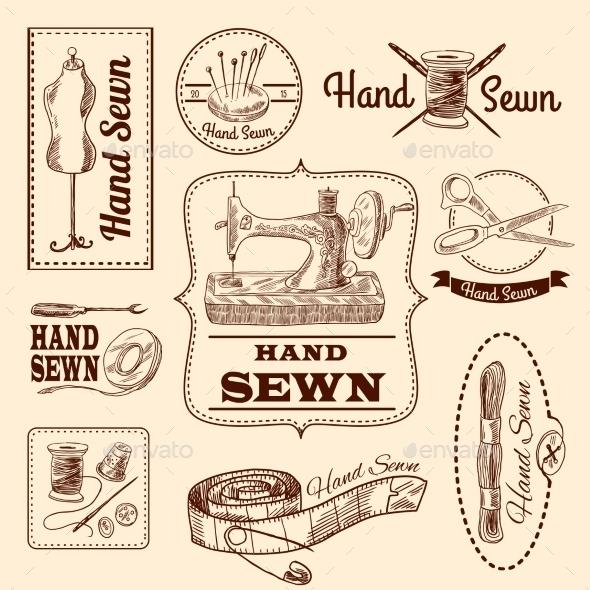 Sewing Emblems Set - Conceptual Vectors