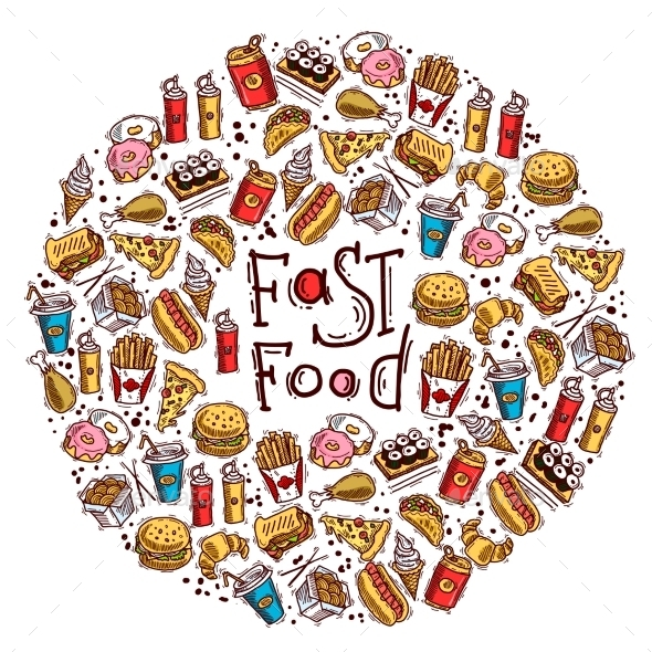 Fast Food Circle - Food Objects