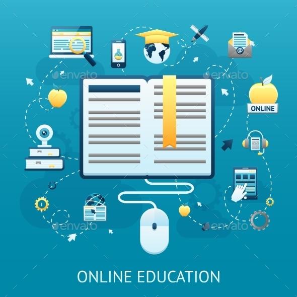 Online Education Design Concept - Miscellaneous Vectors