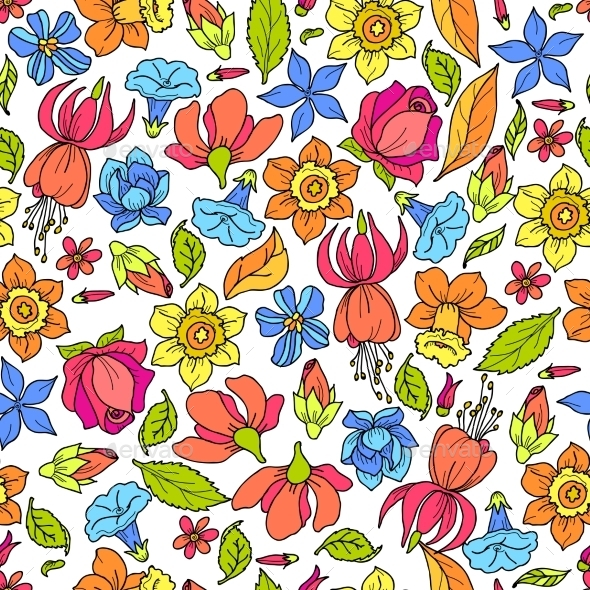 Flowers Pattern Colored - Backgrounds Decorative