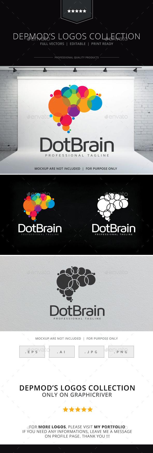 Dot Brain Logo - Symbols Logo Templates