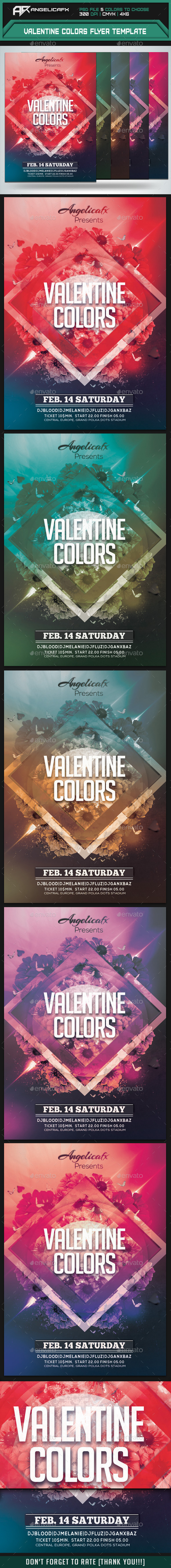 Valentine Colors Flyer Template - Clubs & Parties Events