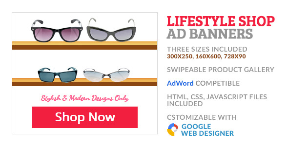 Sunglass Shop Product Gallery GWD Ad Banner  - CodeCanyon Item for Sale
