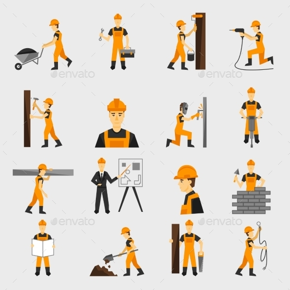 Construction Worker Icons - People Characters