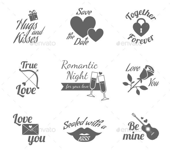 Romantic Icons Set - Miscellaneous Vectors