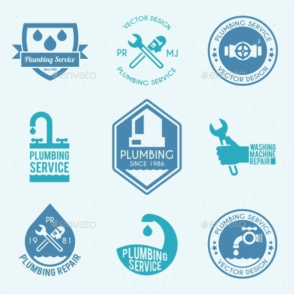 Plumbing Labels Icons Set - Services Commercial / Shopping