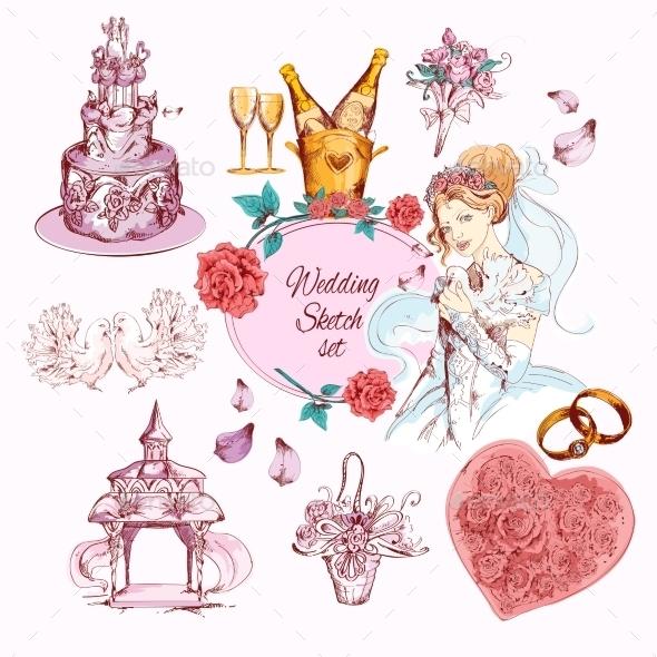 Wedding Sketch Colored - Weddings Seasons/Holidays