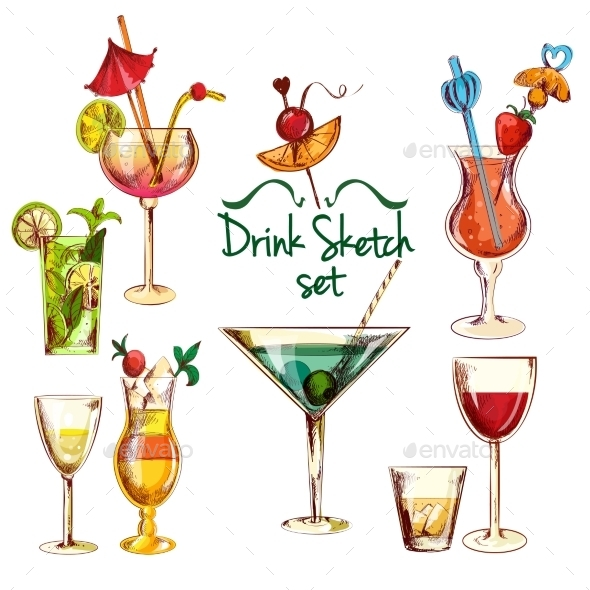 Sketch Cocktail Set - Food Objects