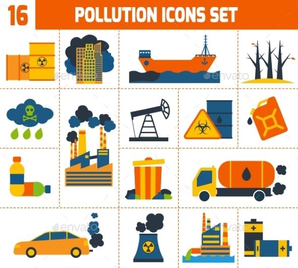 Pollution Icons Set - Nature Conceptual