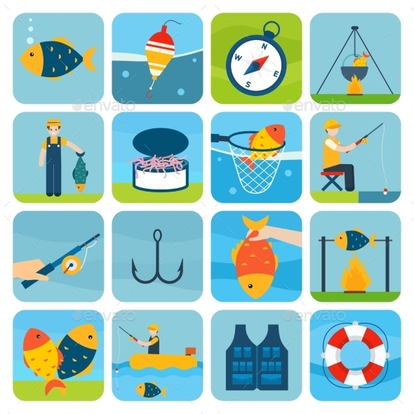 Fishing Icons Set - Miscellaneous Icons