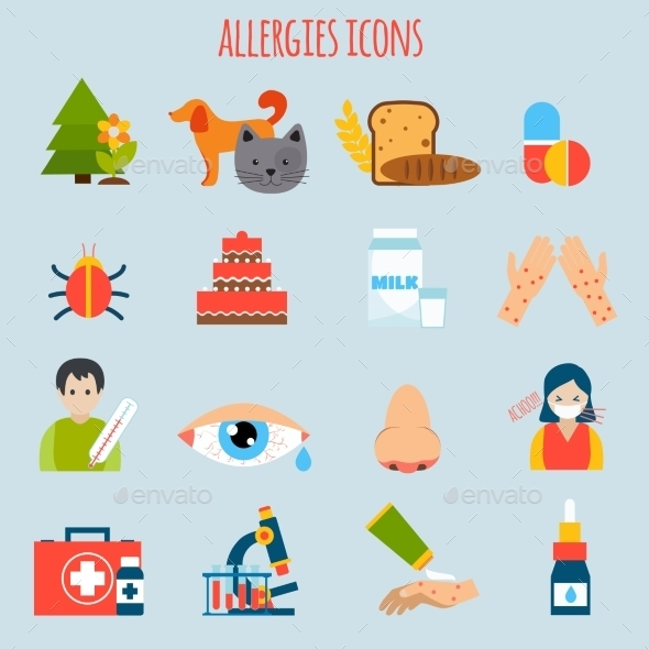 Allergies Icon Set - Health/Medicine Conceptual