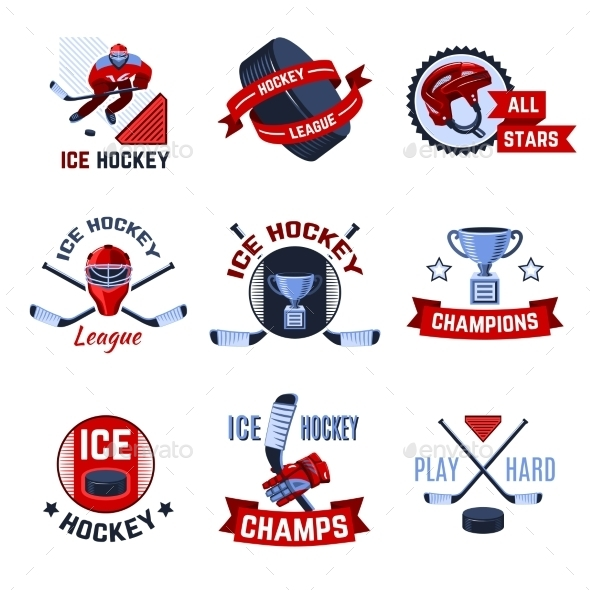 Hockey Emblems Set - Sports/Activity Conceptual