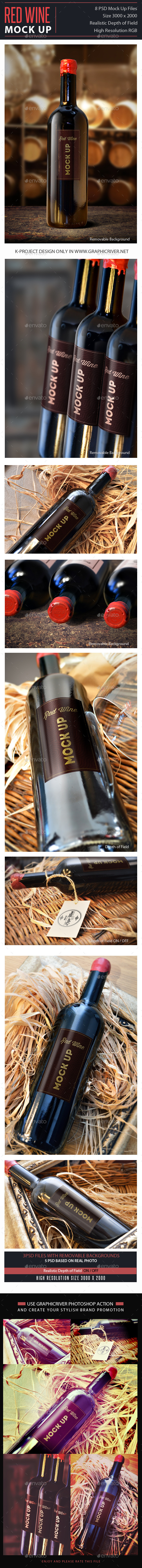 Red Wine Mock Up - Food and Drink Packaging