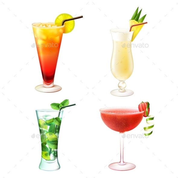 Cocktail Realistic Set - Food Objects