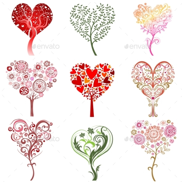 Trees in the Form of a Heart - Flowers & Plants Nature