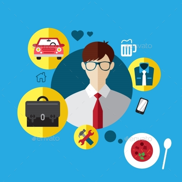 Set Flat Icons with Man of Different Professions.  - Concepts Business