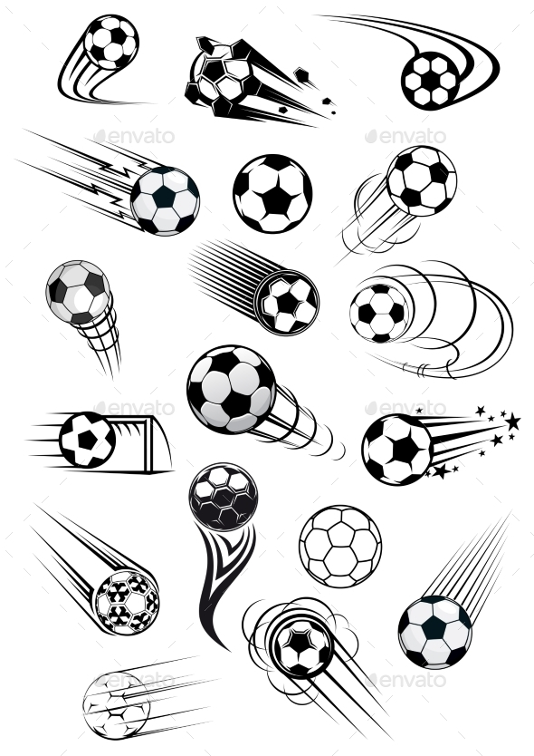 Football or Soccer Ball Symbols - Sports/Activity Conceptual