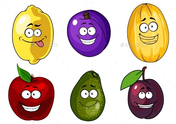 Cartoon Fruits - Food Objects