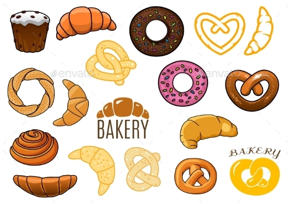 Outlined and Cartoon Bakery Items - Food Objects