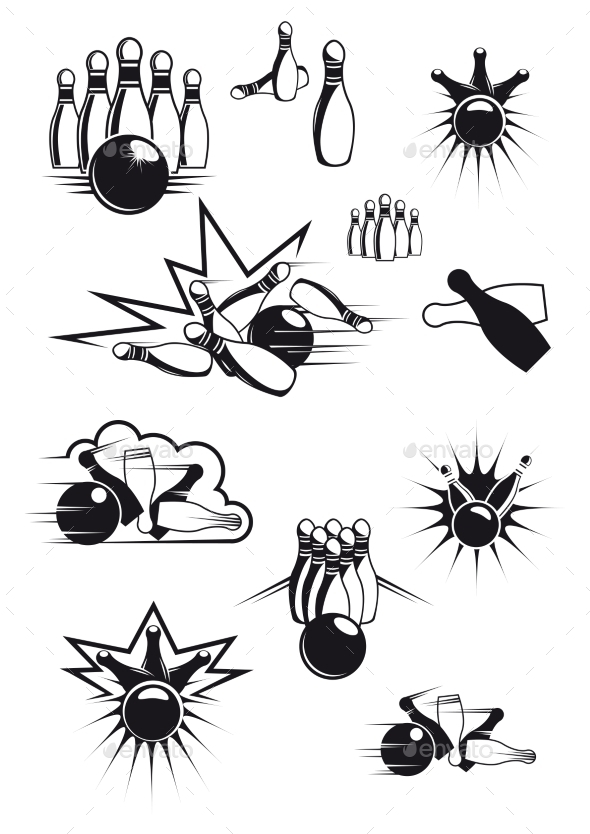 Black and White Comic Bowling Balls and Pins - Sports/Activity Conceptual