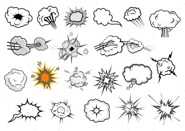 Cartoon Comic Explosion and Speech Elements - Conceptual Vectors