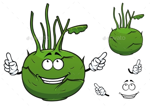 Fresh Vegetable Kohlrabi Cabbage Cartoon - Miscellaneous Characters