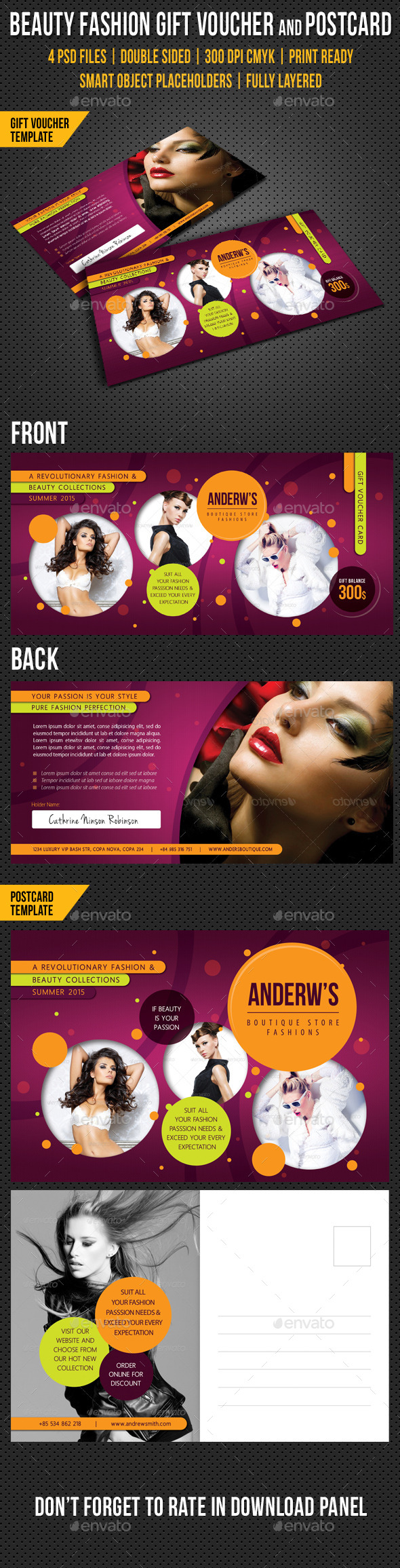 Beauty Fashion Gift Voucher and Postcard V03 - Cards & Invites Print Templates