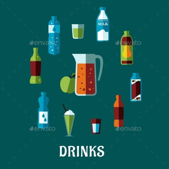 Flat Non Alcoholic Beverages - Food Objects