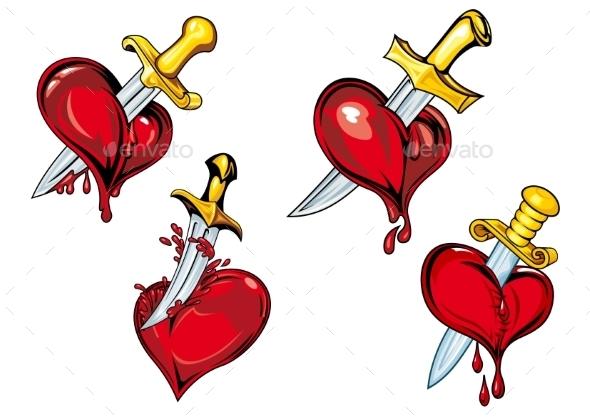Cartoon Hearts with Dagger - Tattoos Vectors
