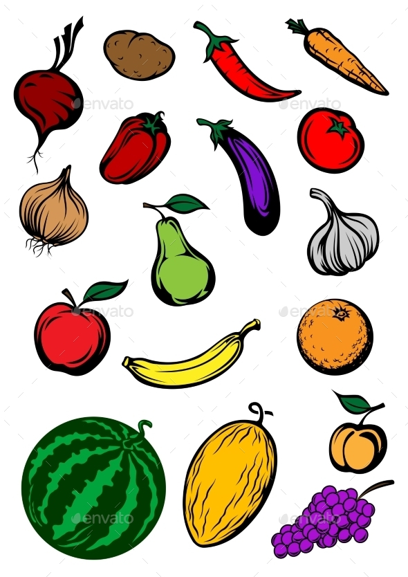 Organic Ripe Cartooned Vegetables and Fruits - Food Objects